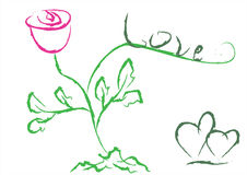 Rose and the word love. Vector royalty free stock image