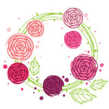Rose wreath. Abstract pink rose wreath with leaves, bitmap picture with EPS vector file Royalty Free Stock Photo