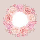 Rose wreath on beige Stock Photography