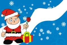 Rose Xmas santa kid cartoon expression postal Royalty Free Stock Photo