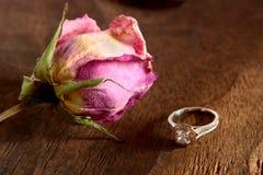 Rose y anillo de diamante secados Imagen de archivo libre de regalías