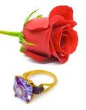 Rose y anillo de oro Fotografía de archivo libre de regalías