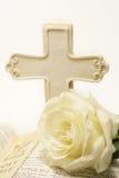 Rose y biblia Fotografía de archivo