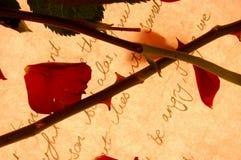 Rose y carta Fotografía de archivo