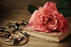 Rose y libro del vintage Foto de archivo libre de regalías