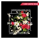 Rose y Lily Graphic Design florales para la camiseta Imagen de archivo libre de regalías