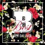 Rose y Lily Graphic Design florales para la camiseta Foto de archivo libre de regalías