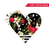Rose y Lily Graphic Design florales para la camiseta, moda Fotos de archivo