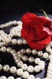 Rose y perlas rojas Imagen de archivo libre de regalías