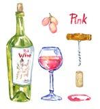 Rose y x28; pink& x29; botella de vino, copa, uvas, sacacorchos, corcho y mancha, sistema aislado Imágenes de archivo libres de regalías