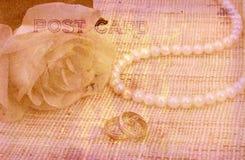 Rose y postal de los anillos de bodas Fotos de archivo libres de regalías