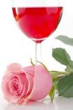 Rose y vino Fotografía de archivo