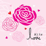 Rose For Only You Sweetheart Cute Cartoon Vector. Rose For Only You Sweetheart Pink Cute Cartoon Vector Stock Photography