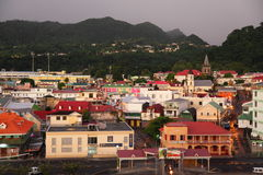 Roseau, Dominica, Caribbean Islands. Roseau, the capital and largest city of Dominica.The image was taken at Cruise pier stock photography