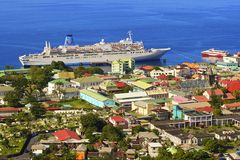 Panorama of Roseau, Dominica royalty free stock images