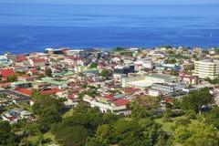 Panorama of Roseau, Dominica stock images