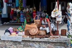 Roseau Dominica Waterfront Vendor stock afbeeldingen