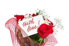 Roseblumenstrauß und Grußkarte Stockfotos