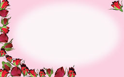 Rosebud background. Beautiful rosebuds frame a space for your message Stock Image