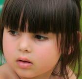 Rosebud Lips. Face of little girl with rosebud shaped lips royalty free stock images