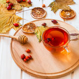 Rosehip drink with fresh berries in a glass cup Stock Images