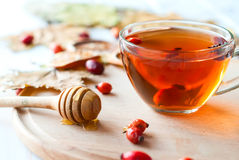 Rosehip drink with fresh berries in a glass cup Stock Photos