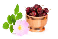 Rosehip flowers with leaf and rosehip berries in a wooden bowl isolated on white background Stock Images