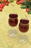 Rosehip fruit and alcoholic liquor Stock Photography