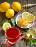 Rosehip tea with lemon. And honey Stock Images