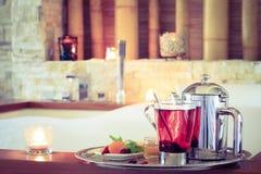 Rosehip tea near jacuzzi. Valentines background. Romance concept Stock Images