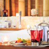 Rosehip tea near jacuzzi. Valentines background. Romance concept Royalty Free Stock Images