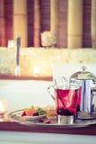 Rosehip tea near jacuzzi. Valentines background. Romance concept Stock Photos