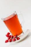 Rosehip tea /  tisane. Glass of rosehip tea isolated on white background.  Tisane Royalty Free Stock Images
