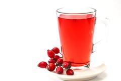 Rosehip tea /  tisane. Glass of rosehip tea isolated on white background.  Tisane Royalty Free Stock Photography