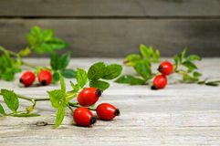 Rosehips on an old wooden table Stock Images