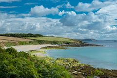 The Roseland peninsula in south Cornwall, England stock images