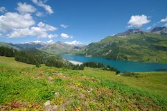 Roselend dam. Surrounded by mountains in savoie in french alps Stock Images