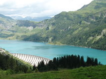 Roselend dam. View over Roselend dam in the french Alps Royalty Free Stock Photos