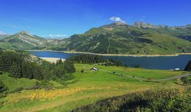 Roselend dam and lake in Savoie, France Royalty Free Stock Images