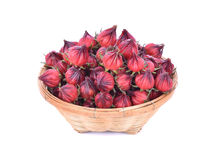 Roselle fruit in bamboo basket isolated on white background.  Stock Photos