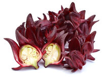 Roselle fruits Thailand use for made local sweet juice on white Stock Photo