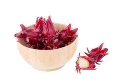 Roselle Hibiscus-bloem van het sabdariffa de rode fruit op witte achtergrond Stock Foto's