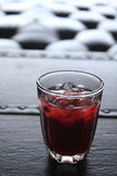 Roselle juice in the glass royalty free stock images