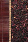 Roselle  lying on dark bamboo mat, for menu Stock Photo