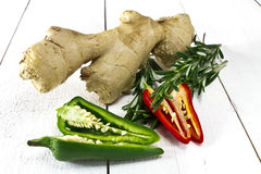 Rosemaru ginger and chilli peppers Royalty Free Stock Image