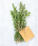 Rosemary. Bunch of fresh rosemary with tag on a white linen napkin Royalty Free Stock Photography