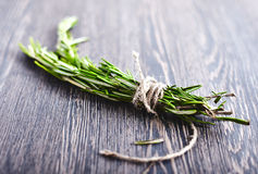 Rosemary bound on a wood Stock Images