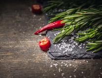 Rosemary branch and red chili with salt on dark slate Royalty Free Stock Images