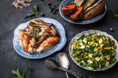 Rosemary chicken dinner Royalty Free Stock Photos