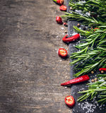 Rosemary, chopped chili and salt Royalty Free Stock Photo